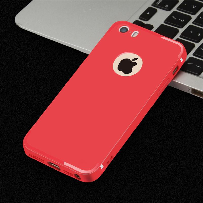 2eea6f08cc Mäkký silikónový kryt na iPhone 5 5s SE - matná červená