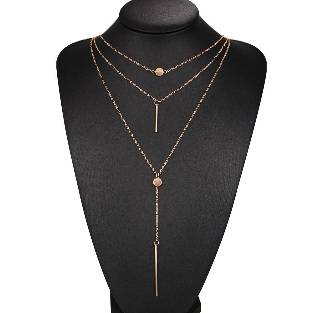 cdbfdf6e4 Elegantný viacvrstvový náhrdelník s príveskami - zlatý | TrendyVeci