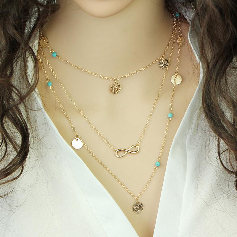 738199554 Elegantný viacvrstvový náhrdelník so symbolom večnosti a ozdobami ...