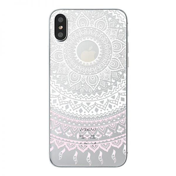 Mäkký priehľadný silikónový kryt biela mandala na iPhone X