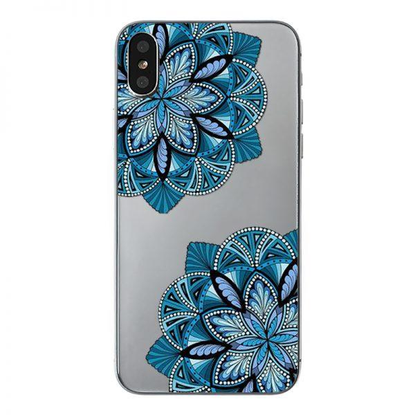 Mäkký priehľadný silikónový kryt farebné kvety na iPhone X