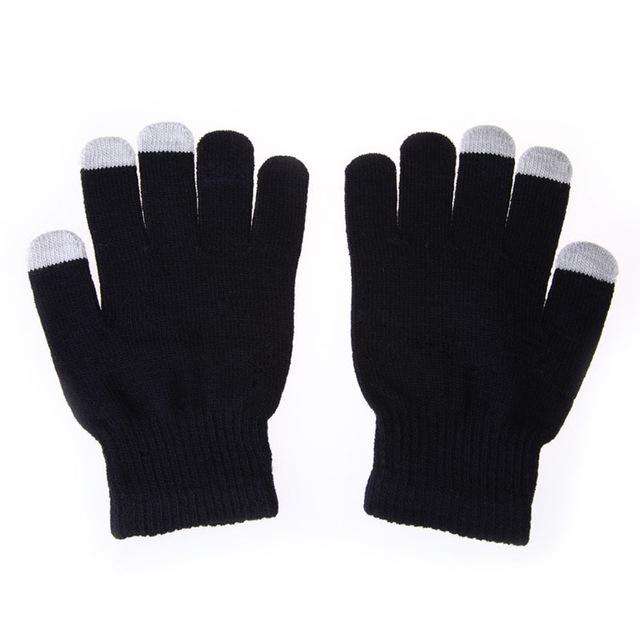 Trendové farebné rukavice na dotykový displej - čierne  fbbcb0a2f0