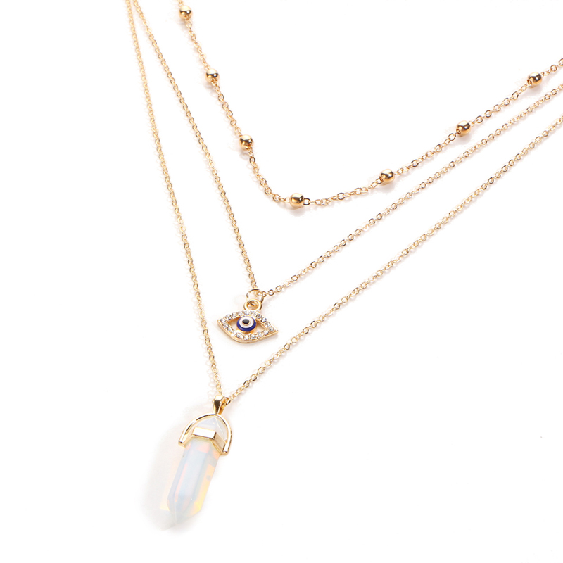 b36404d04 Elegantný viacvrstvový náhrdelník s ozdobami a prírodným opálom ...