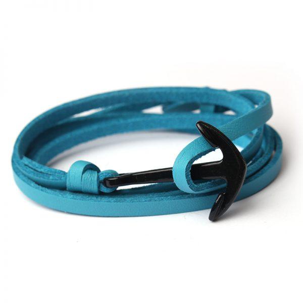 Trendový plochý kožený náramok s čiernou kotvou - modrý