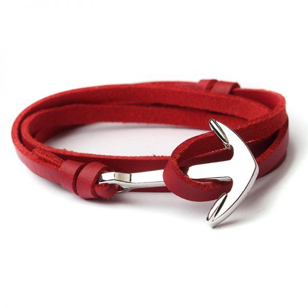 Trendový plochý kožený náramok so striebornou kotvou - červený