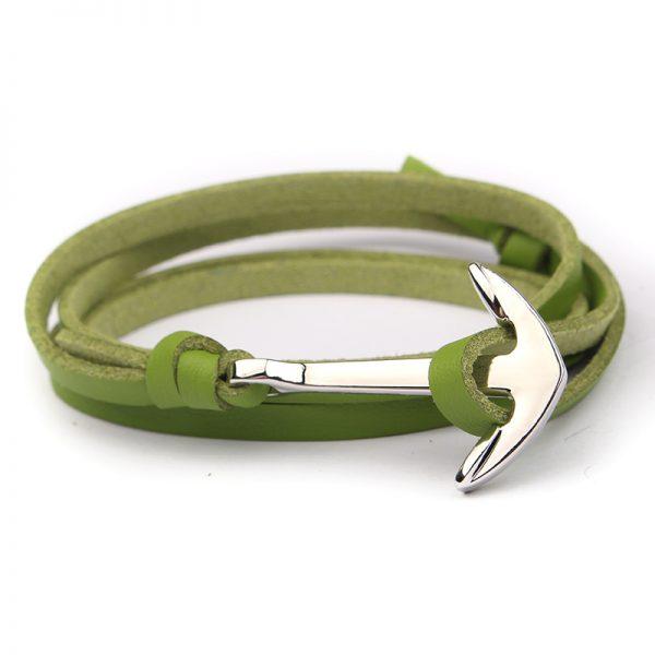 Trendový plochý kožený náramok so striebornou kotvou - zelený