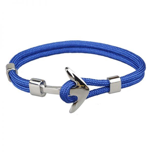 Trendový dvojitý náramok so striebornou kotvou - modrý