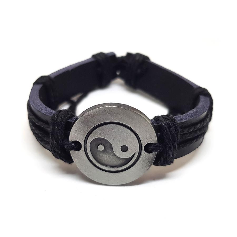 ae09156e8 Trendový retro kožený náramok Jin a jang - čierny | TrendyVeci