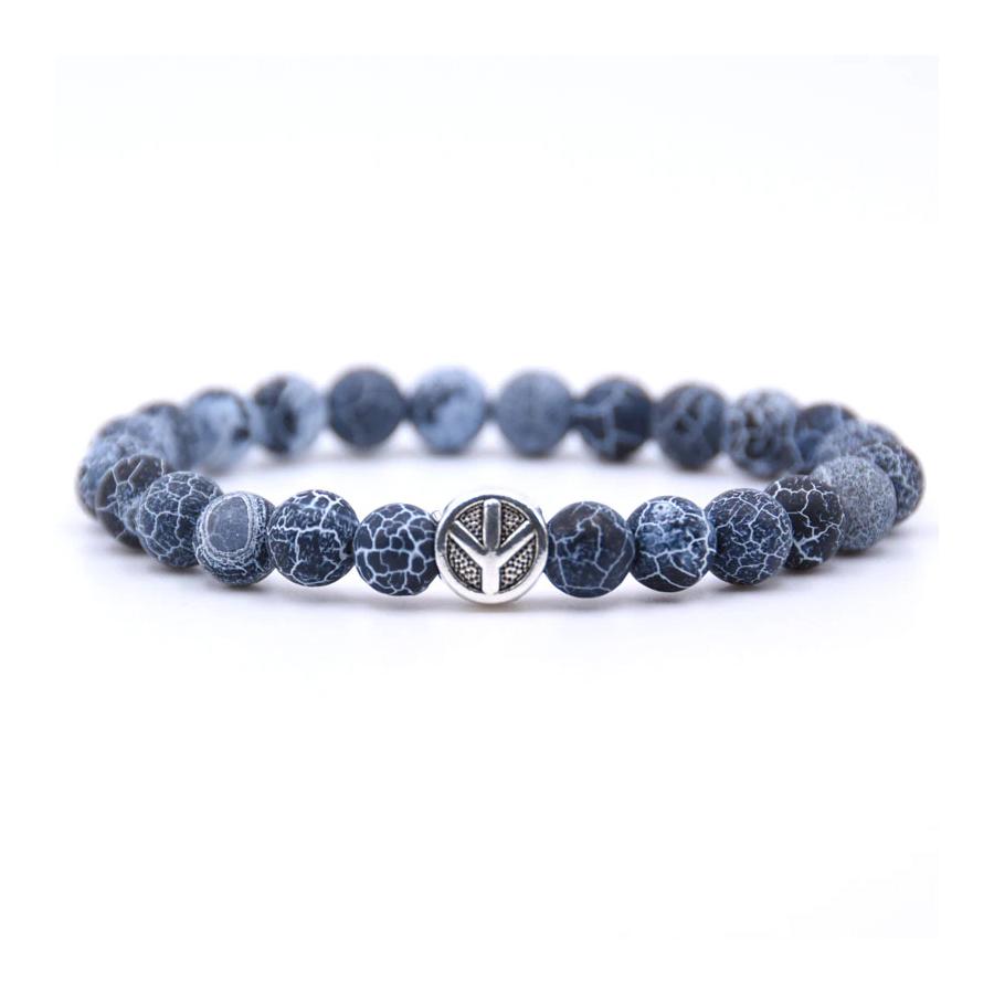 022d3102223a Trendový Buddha náramok Peace z prírodného kameňa - modrý