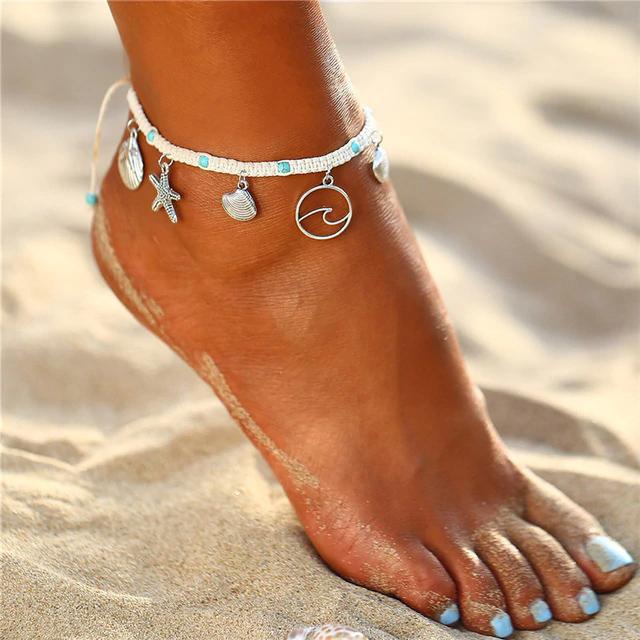 dc4d9ae72 Trendový náramok na nohu s hviezdicami a mušličkami | TrendyVeci