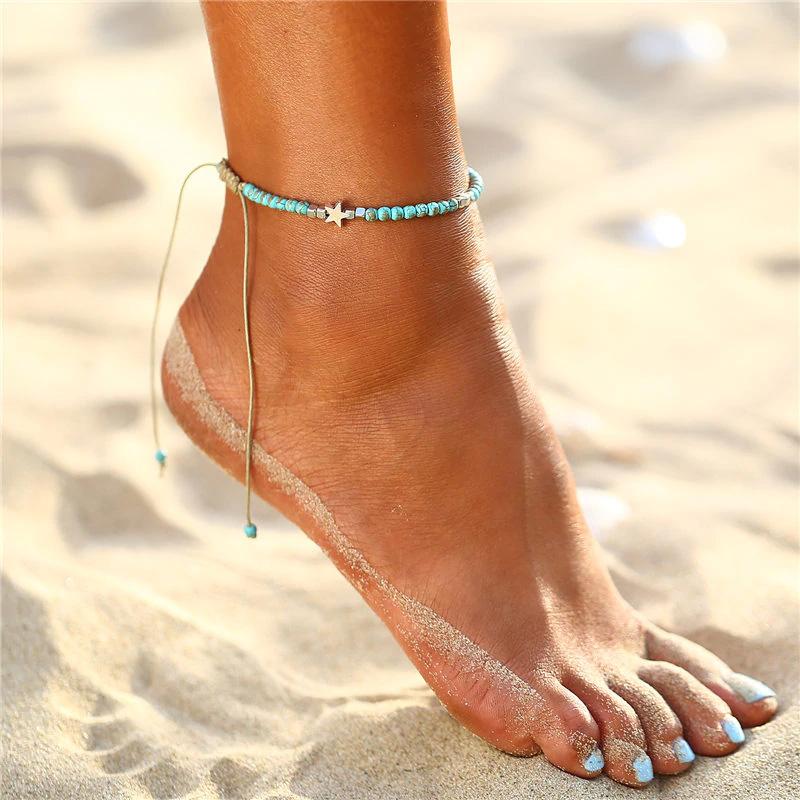 e04681663 Trendový náramok na nohu s prírodným kameňom a hviezdičkami | TrendyVeci